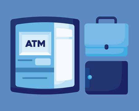 wallet money with portfolio and atm vector illustration design Illustration