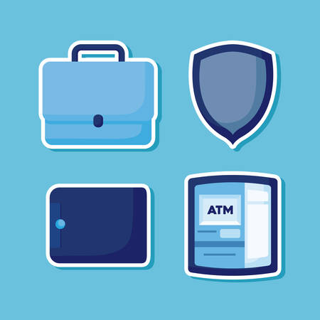 wallet money with set icons economy finance vector illustration design