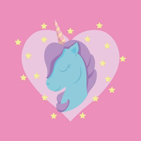 head cute unicorn of fairy tale with heart vector illustration design Vectores