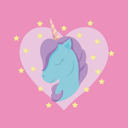 head cute unicorn of fairy tale with heart vector illustration design Illustration