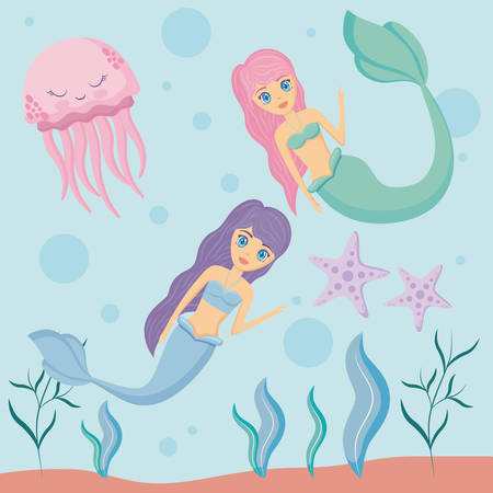 cute sirens with octopus and starfish vector illustration design