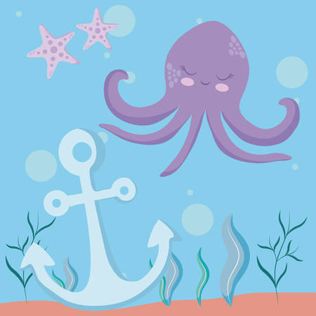 cute octopus with starfish and anchor vector illustration design Illustration