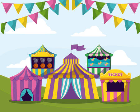 circus tents with garlands isolated icon vector illustration design