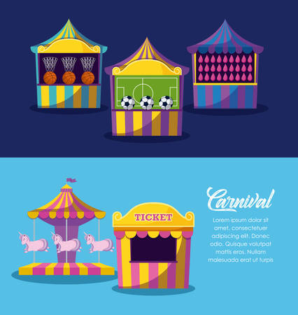 set of circus tents with games with ticket sale vector illustration design
