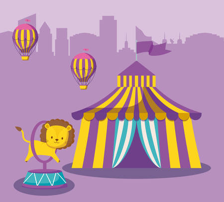 circus tent with cute animal and balloons air hot vector illustration design