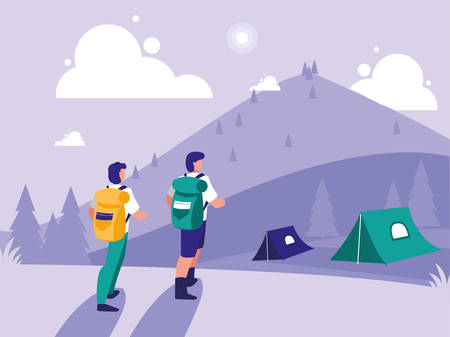creative landscape with people camping vector illustration design