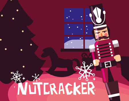 nutcracker soldier with tree christmas vector illustration design