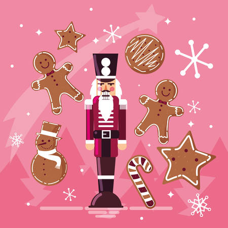 nutcracker soldier with ginger cookie and cane vector illustration design
