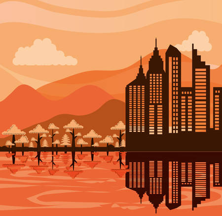 cityscape with buildings scene vector illustration design  イラスト・ベクター素材