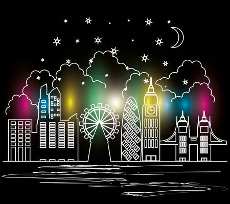 cityscape with buildings scene night vector illustration design