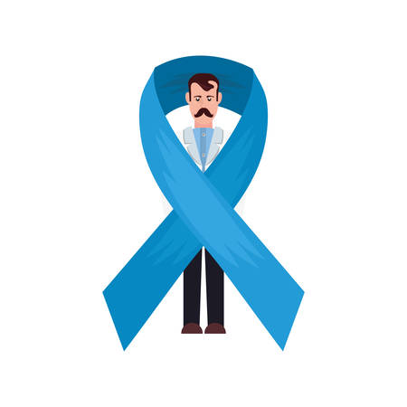 doctor wrapped blue ribbon campaign vector illustration