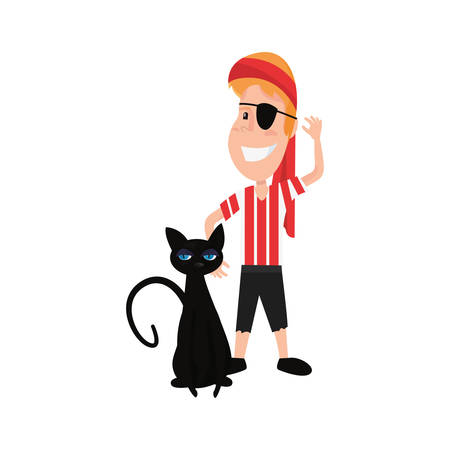 child in halloween costume with black cat vector illustration Illustration