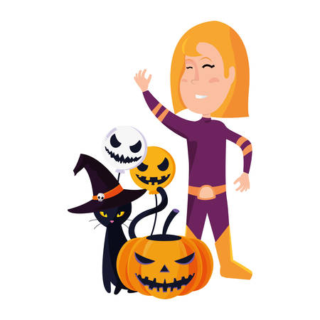 girl in halloween costume with cat and pumpkin vector illustration