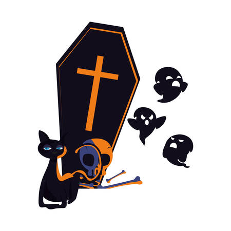 happy halloween coffin ghost skull cat bones vector illustration