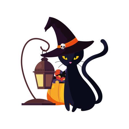 happy halloween blakc cat lamp pumpkin vector illustration