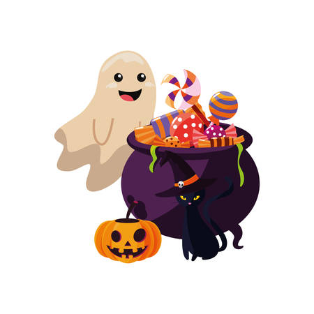 happy halloween ghost boiler candys cat vector illustration