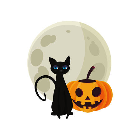happy halloween moon black cat pumpkin smiling vector illustration