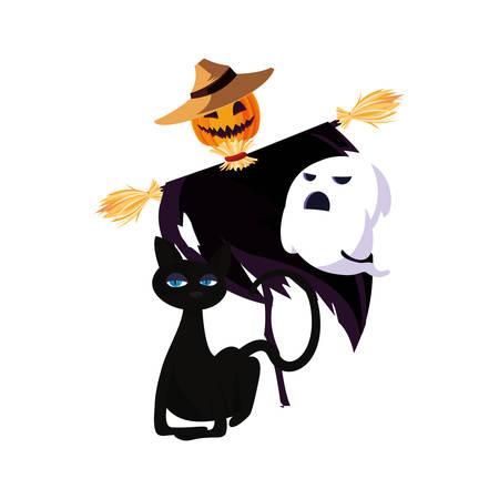 happy halloween scarecrow ghost cat vector illustration Illustration