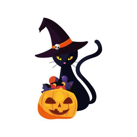happy halloween black cat pumpkin candys vector illustration Illustration