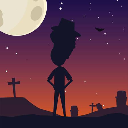 happy halloween moon night stars cemetery vector illustration