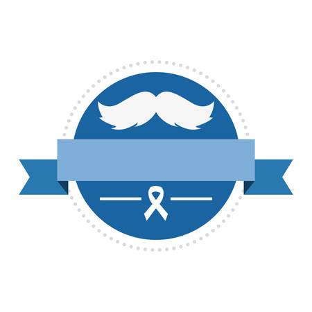 label mustache ribbon movember prostate cancer vector illustration