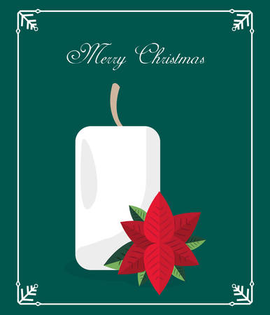 candle and flower poinsettia card merry christmas vector illustration