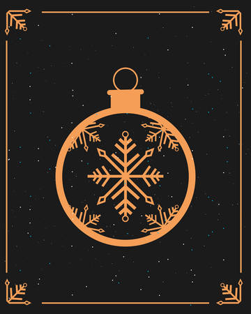decorative ball snowflake merry christmas vector illustration