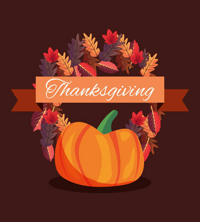 happy thanksgiving ribbon pumpkin leaves vector illustration Illustration