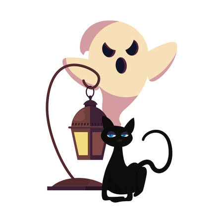 ghost cat and lamp halloween celebration vector illustration