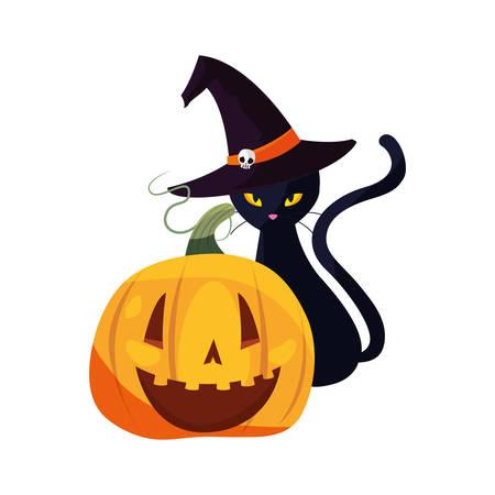 black cat and pumpkin halloween celebration vector illustration Illustration