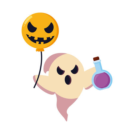 ghost with balloon and bottle potion halloween vector illustration Vettoriali