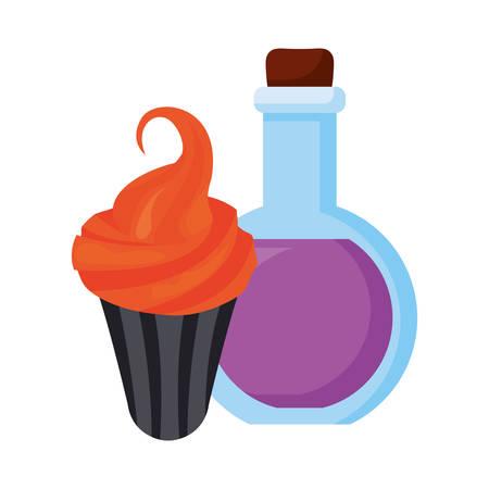 potion and cupcake halloween celebration vector illustration