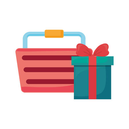 basket and gift online shopping commerce vector illustration