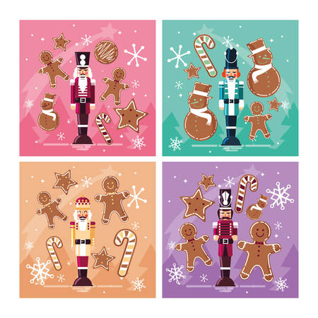 set of nutcracker toy isolated icon vector illustration design