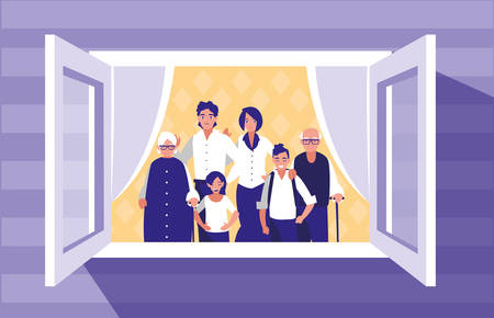 group of family members in the window vector illustration design