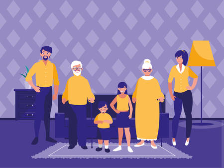 group of family members in the livingroom vector illustration design Ilustração
