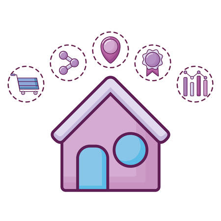 house and digital marketing related icons around over white background, vector illustration Illusztráció