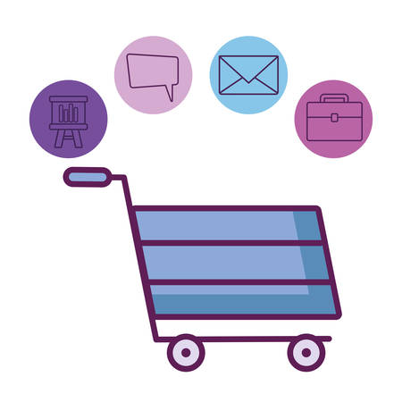 shopping cart and related icons around over white background, vector illustration