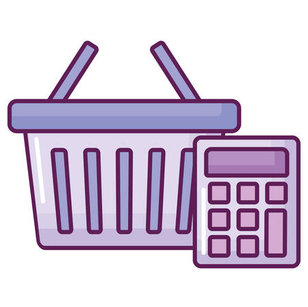 shopping basket and calculator over white background, vector illustration