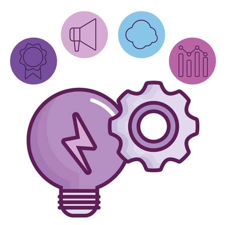 light bulb and digital marketing related icons around over white background, vector illustration