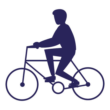 silhouette of man riding bicycle over white background, vector illustration