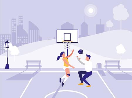 Hombre y mujer jugando baloncesto sobre fondo de parque, ilustración vectorial