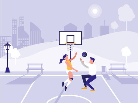 man and woman playing Basketball over park background, vector illustration