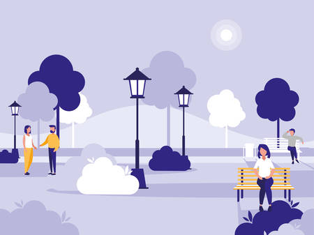Park with people talking and relaxed sitting in a bench , colorful design, vector illustration Vecteurs