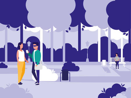couple walking in the park ,colorful design, vector illustration