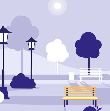 Park with bench and trees,colorful design, vector illustration