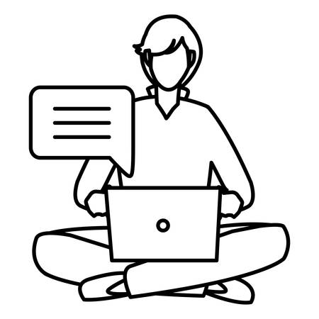 man chating on a laptop computer over white background, vector illustration Illustration