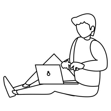 man using a laptop computer over white background, vector illustration