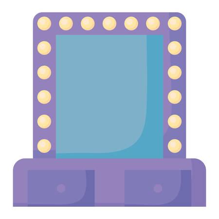 Makeup mirror with lamps over white background, vector illustration Vektorgrafik