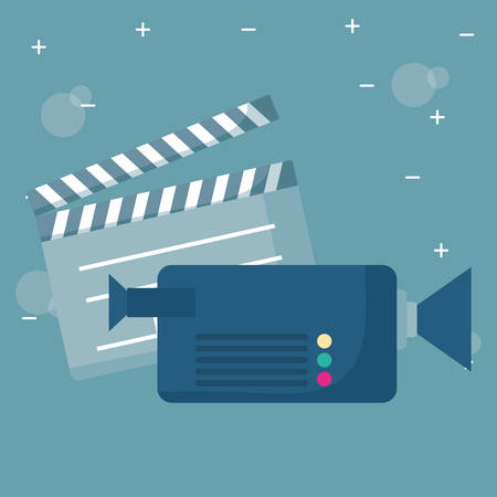 videocamera and movie clapboard over gray background, vector illustration 向量圖像
